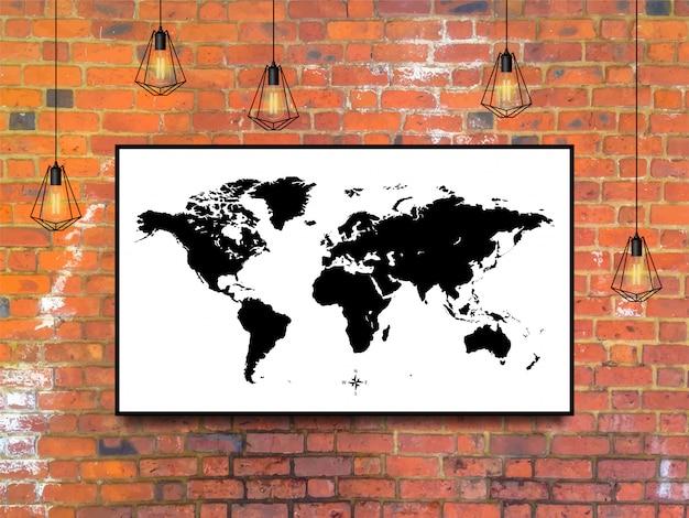 Mapa świata w ramce z lampami edisona na tle ceglanego muru w stylu loft.