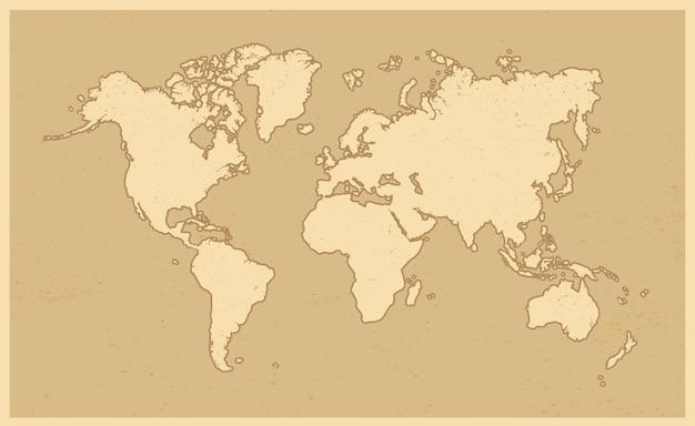 Mapa świata w stylu grunge