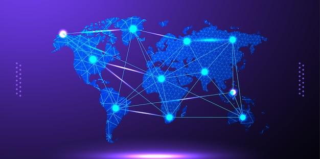 Mapa świata w stylu low-poly. siatka linii i punktów. niebieskie tło