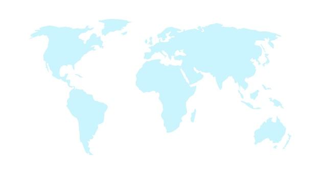 Mapa świata wektor na białym tle. szablon mapy świata z kontynentami. płaska ziemia, niebieski szablon mapy dla wzoru strony internetowej, raportu rocznego, infografiki. ilustracja wektorowa