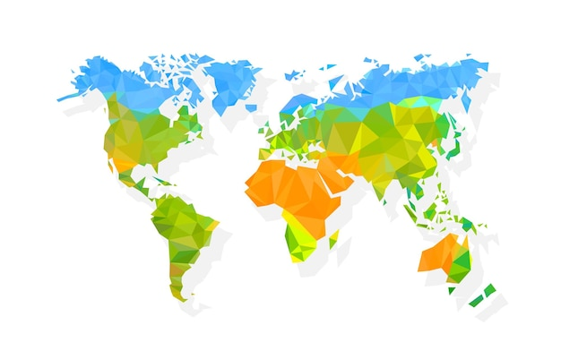 Mapa świata wielokąt na białym tle. ilustracja wektorowa