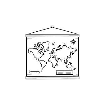 Mapa świata wisi na ścianie ręcznie rysowane konspektu doodle ikona. geografia i wiedza, koncepcja edukacji. szkic ilustracji wektorowych do druku, sieci web, mobile i infografiki na białym tle.