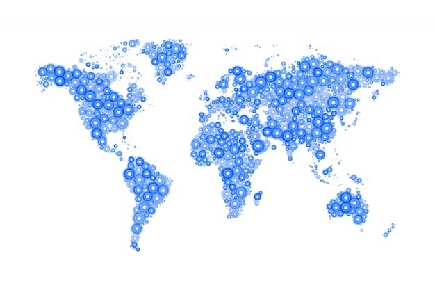 Mapa świata wykonana z nowoczesnych niebieskich kółek o różnych rozmiarach z jasnym, świecącym na biało