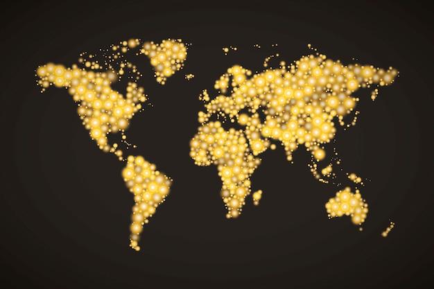 Mapa świata wykonana z nowoczesnych złotych świateł o różnych rozmiarach z jasnym świecącym na ciemnym tle