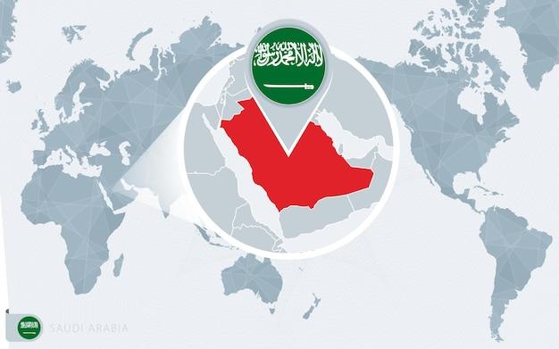 Mapa świata wyśrodkowanego na pacyfiku z powiększoną arabią saudyjską. flaga i mapa arabii saudyjskiej.