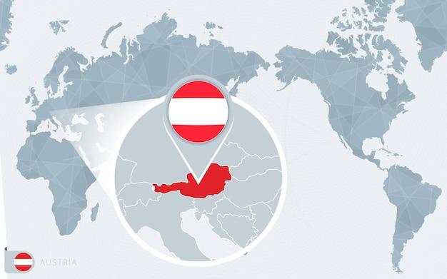 Mapa świata wyśrodkowanego na pacyfiku z powiększoną austrią. flaga i mapa austrii.