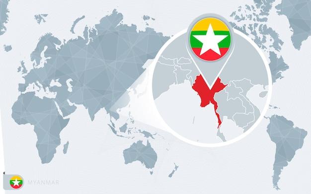 Mapa świata wyśrodkowanego na pacyfiku z powiększoną birmą. flaga i mapa birmy.