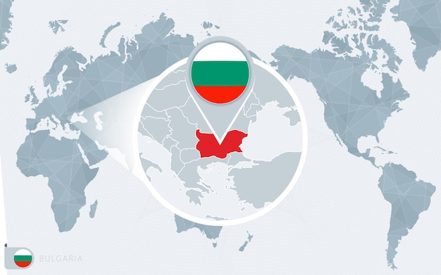 Mapa świata wyśrodkowanego na pacyfiku z powiększoną bułgarią. flaga i mapa bułgarii.