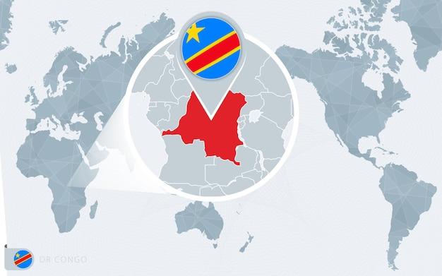 Mapa świata wyśrodkowanego na pacyfiku z powiększoną dr kongo. flaga i mapa dr konga.