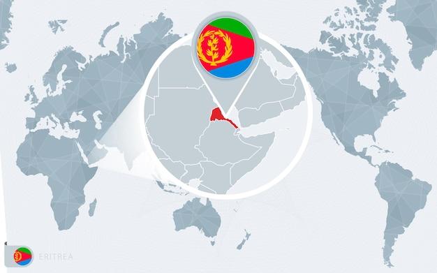 Mapa świata wyśrodkowanego na pacyfiku z powiększoną erytreą. flaga i mapa erytrei.