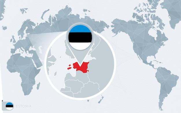 Mapa świata wyśrodkowanego na pacyfiku z powiększoną estonią. flaga i mapa estonii.