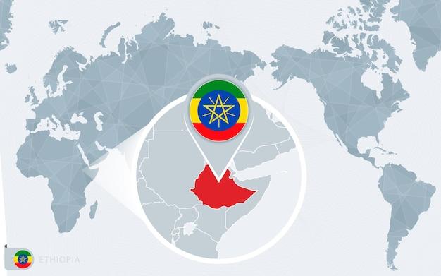 Mapa świata wyśrodkowanego na pacyfiku z powiększoną etiopią. flaga i mapa etiopii.