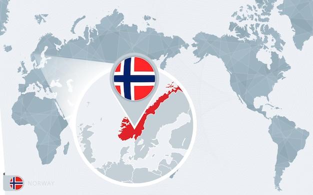 Mapa świata wyśrodkowanego na pacyfiku z powiększoną flagą norwegii i mapą norwegii