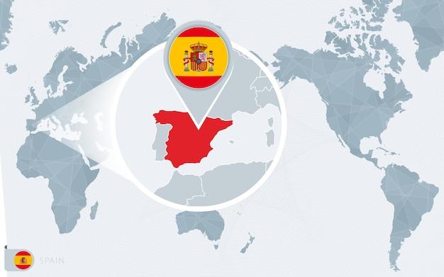 Mapa świata wyśrodkowanego na pacyfiku z powiększoną hiszpanią. flaga i mapa hiszpanii.
