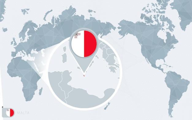 Mapa świata wyśrodkowanego na pacyfiku z powiększoną maltą. flaga i mapa malty.