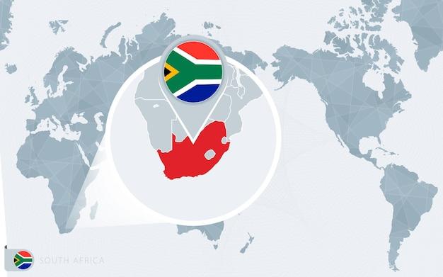 Mapa świata wyśrodkowanego na pacyfiku z powiększoną rpa. flaga i mapa republiki południowej afryki.