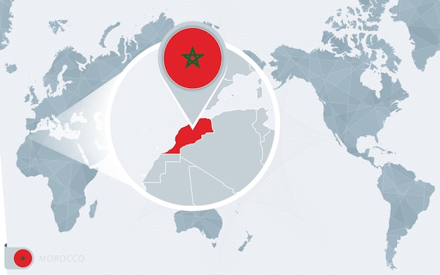 Mapa świata wyśrodkowanego na pacyfiku z powiększonym marokiem. flaga i mapa maroka.