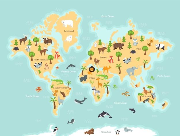 Mapa świata Z Dzikimi Zwierzętami I Roślinami Premium Wektorów