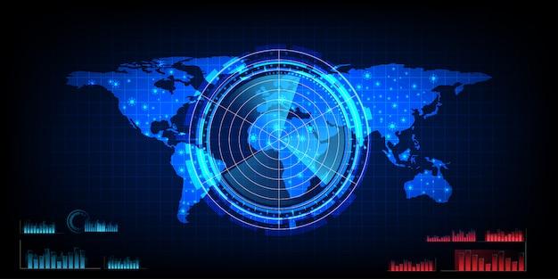 Mapa świata z ekranem radarowym, cyfrowym radarem niebieskim z celami i mapą świata jako tło i tapeta