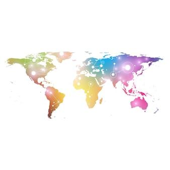 Mapa świata z globalną koncepcją sieciową technologię cyfrową wizualizację danych linie splot big data...