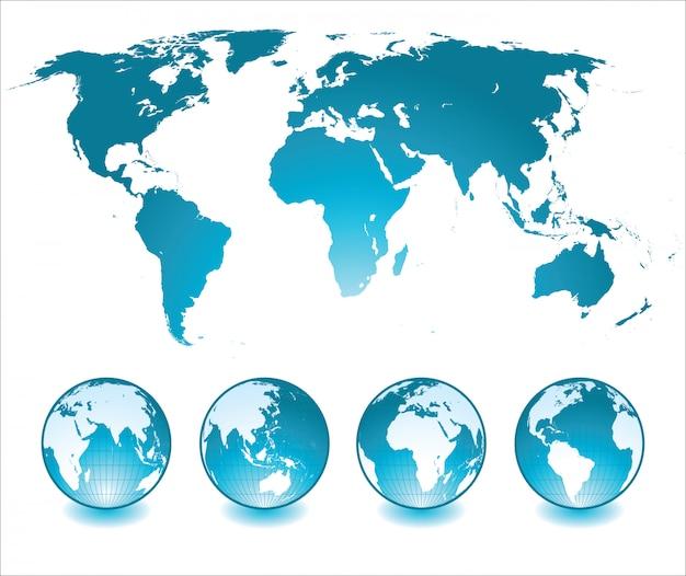 Mapa świata z globusami