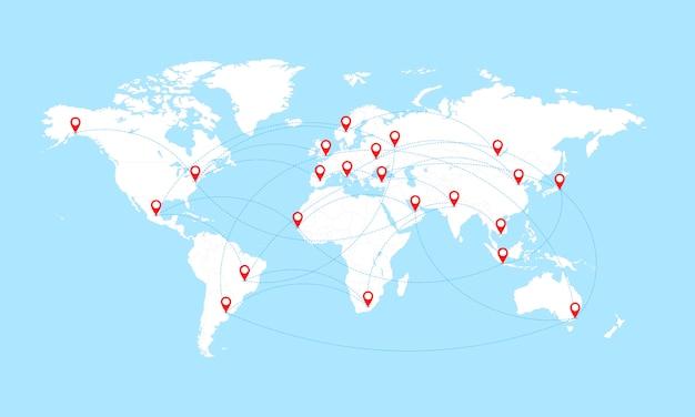 Mapa świata z granicami krajów i czerwonymi wskaźnikami lokalizacji.