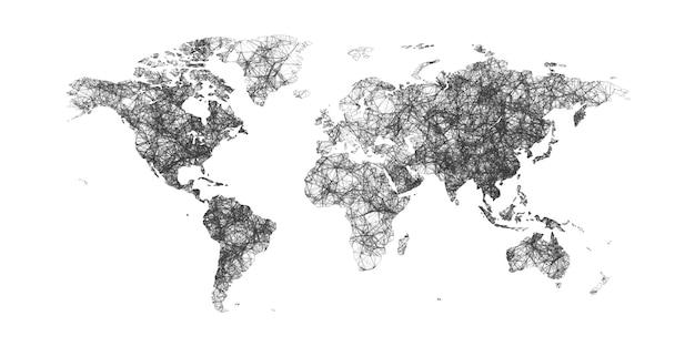 Mapa świata z granicami krajów z kropkami i liniami. mapa świata splotu.