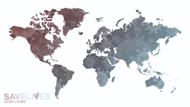 Mapa świata z ilustracją koronawirusa, slogan save lives stay home. mapa wektorowa.