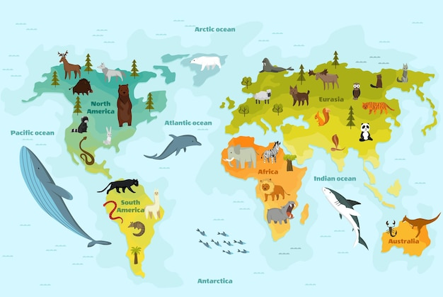 Mapa świata z innym zwierzęciem. zabawna kreskówka z kontynentami, oceanami i wieloma zabawnymi zwierzętami.