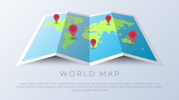 Mapa świata z kołkami lokalizacji geograficznej