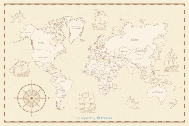 Mapa świata z koncepcją motywu vintage