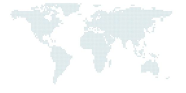 Mapa świata z kropkami. okręgi rastrowe tworzące mapę świata.