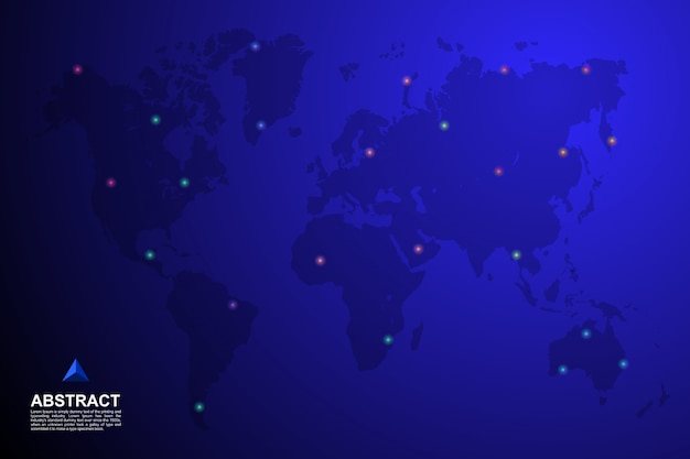 Mapa świata z pinem na tle lokalizacji
