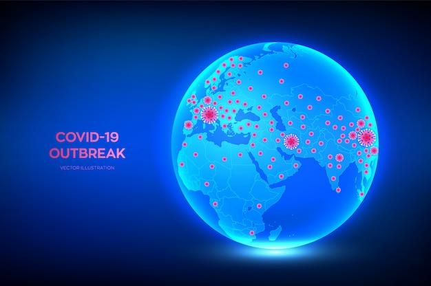 Mapa świata z potwierdzonymi przypadkami koronawirusa 2019-ncov. globus planety ziemia z ikoną krajów zakażonych koronawirusem covid-19.