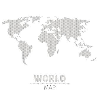 Mapa świata z sześciokątnymi kropkami na białym tle ilustracji. mapa świata w stylu monochromatycznym, mapa geografii i plansza wizualizacji