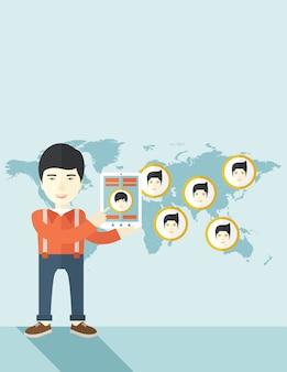 Mapa świata z takimi samymi twarzami w każdym miejscu docelowym.