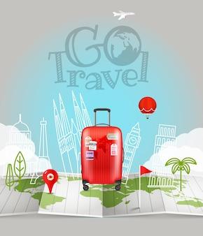 Mapa świata z torbą. idź logo podróży