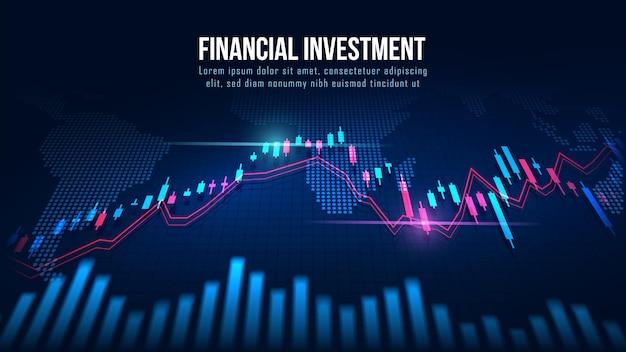 Mapa świata z wykresem w futurystycznej koncepcji nadającej się do inwestycji finansowych lub pomysłu na biznes trendów gospodarczych i wszystkich projektów dzieł sztuki. streszczenie tło finansów