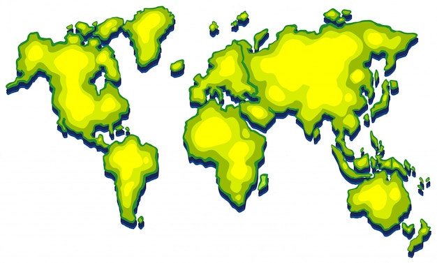 Mapa świata z zieloną ziemią na białym tle