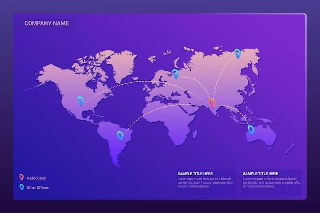 Mapa świata ze wskaźnikami lokalizacji