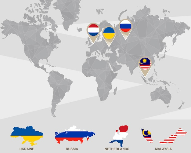 Mapa świata ze wskaźnikami ukraina, rosja, holandia, malezja. katastrofa samolotu. ilustracja wektorowa.