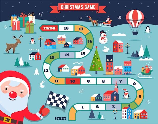 Mapa świątecznej wioski, zimowe miasteczko, gra planszowa z ilustracjami i postaciami.