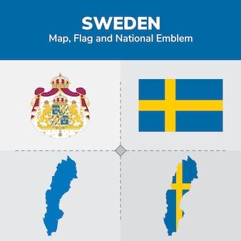 Mapa szwecji, flaga i godło państwowe