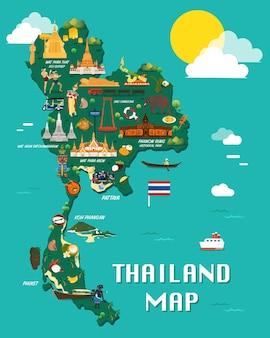 Mapa tajlandii z kolorowym projektem ilustracji zabytków