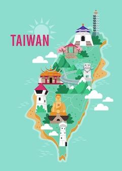 Mapa tajwanu z ilustracjami atrakcji