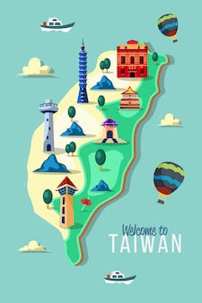 Mapa tajwanu z zabytkami