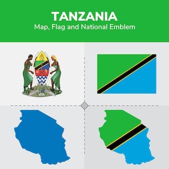 Mapa tanzanii, flaga i godło państwowe