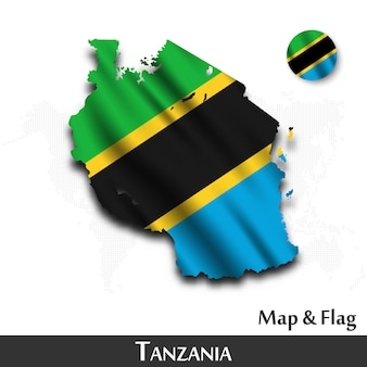 Mapa tanzanii i flaga. machający wzór tkaniny. kropka tło mapy świata.