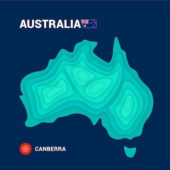 Mapa topograficzna australii. koncepcja kartografii 3d