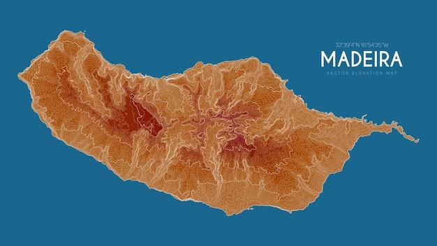 Mapa topograficzna madery, portugalia.